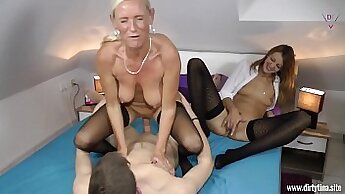 Big tittied young brunette milf doggystyled after hot student
