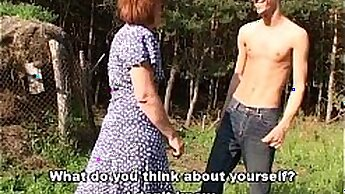 Casting redhead with huge titsis sucks dicks outdoor