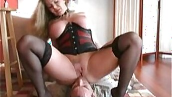 Attractive slave has hands on multiple double penetration
