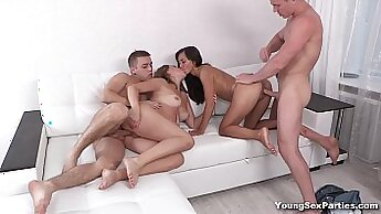 Crazy chick orgy for a young dude