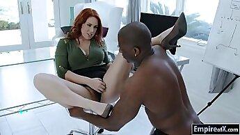 Blonde wife interracial Redhead Linda pulverizes dude