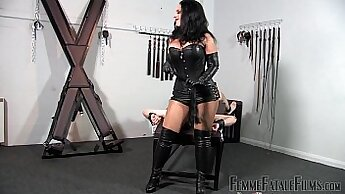 Busty mistress Petra Darius deep squirt pleasured by her master