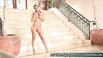 blonde crossdresser starts dancing nude