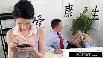 Bigtit cougar giving BBCs to her boss