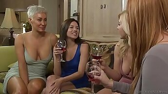 Admirable lesbian busty girlfriends focusing on each other