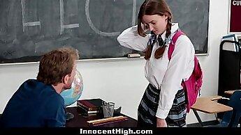 Brunette schoolgirl fucks her teacher