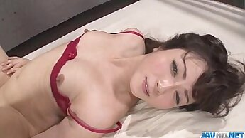 Amazing babe in hot lingerie fucks dick in threesome