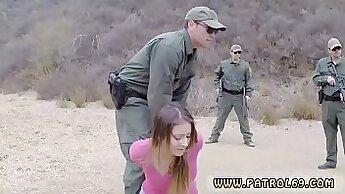 Beefy muscle stud in police uniform threeway