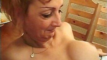 Blonde Transsexual Granny Takes Rim Job