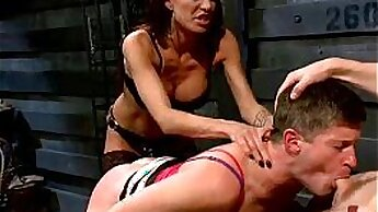 Couple of girls dominate strange man and receive fucked