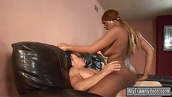 Busty African Transsexual Sucking Asshole