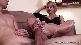 Bald wet foot job from my buddies son gets performed in bed